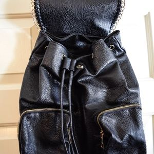 Bags - (SOLD) Black Pebbled Faux Leather Backpack